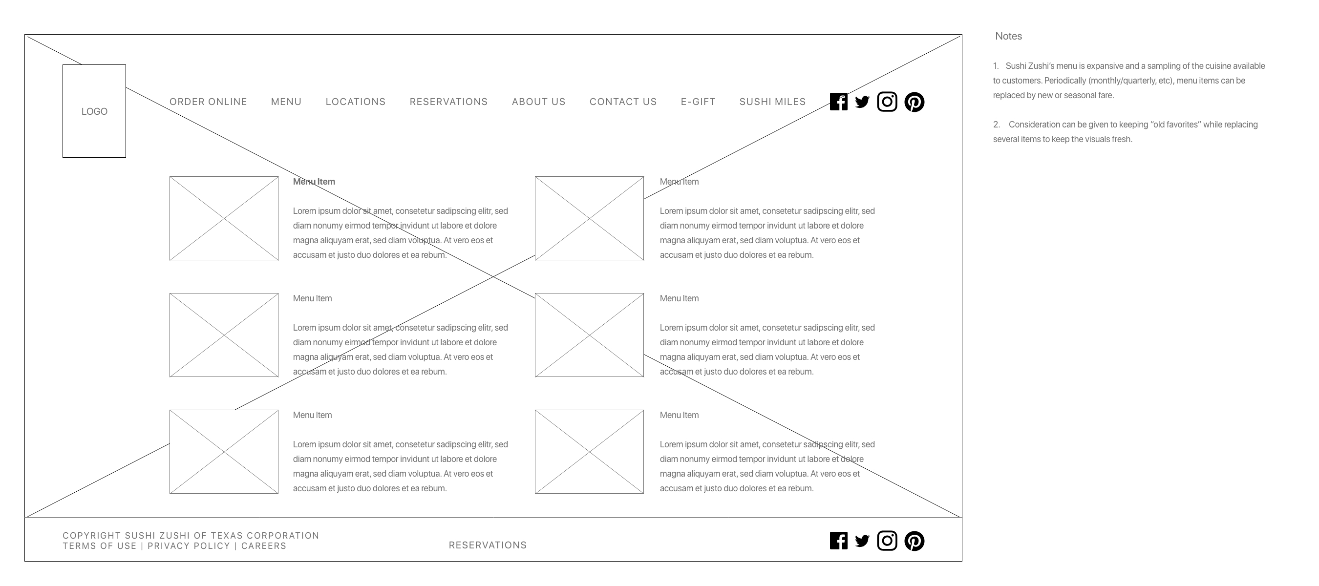 Menu Wireframe